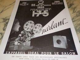 ANCIENNE PUBLICITE  CINEMA PARLANT  PATHE CINEMA  1933 - Photography