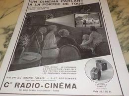 ANCIENNE PUBLICITE  CINEMA PARLANT POUR TOUS  RADIO CINEMA  1933 - Photography