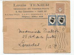 BLASON 10C CORSEX2+ 1FR20 ARC TRIOMPHE LETTRE PARIS 25.II.1947   AU TARIF IMPRIME - 1941-66 Armoiries Et Blasons