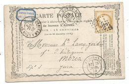 ARIEGE CERES 15C CARTE PRECURSEUR GC 3653 ST GIRONS 28 JUIL 1873  + ETIQUETTE PUB POUR MOREZ JURA - 1849-1876: Klassik