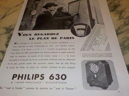 ANCIENNE PUBLICITE VOUS REGARDEZ LE PLAN DE PARIS PHILIPS 630 1933 - Music & Instruments
