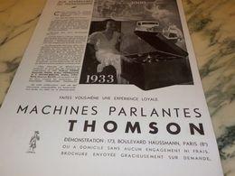 ANCIENNE PUBLICITE MACHINE PARLANTES  THOMSON  1933 - Music & Instruments