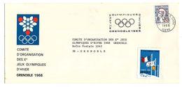Flamme Des Xèmes Jeux Olympiques D'Hiver De Grenoble 1968  Olympic Games 68 Sur Enveloppe Du COJO Avec Vignette Grenoble - Invierno 1968: Grenoble
