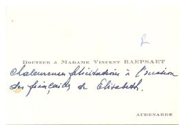 Visitekaartje - Carte De Visite - Docteur & Madame Vincent Raepsaet - Audenarde - Dokter Oudenaarde - Visiting Cards