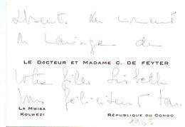 Visitekaartje - Carte De Visite - Dokter , Docteur & Madame C. De Feyter - Kolwezi , République Du Congo - Visiting Cards