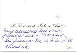 Visitekaartje - Carte De Visite - Dokter , Docteur & Madame Andrien - Visé - Visiting Cards