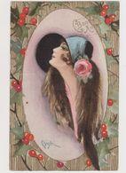 Jolie Carte Style Art Déco Signée Chiostri  / Jeune Femme De Profil .Bordure De Houx .Bonne Année - Chiostri, Carlo
