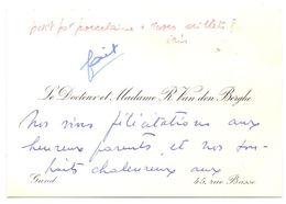 Visitekaartje - Carte De Visite - Dokter , Docteur & Madame R. Van Den Berghe - Gand Gent - Visiting Cards