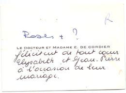 Visitekaartje - Carte De Visite - Dokter , Docteur & Madame E. De Cordier - ( Gand Gent ) - Visiting Cards