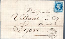 LETTRE 1867 - POSTEE A CHAUFAILLES - CACHET POSTAL ARRIVEE LYON - - 1863-1870 Napoleon III Gelauwerd