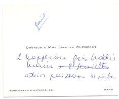 Visitekaartje - Carte De Visite - Dokter , Docteur & Madame Jacques Cloquet  Gand Gent - Visiting Cards