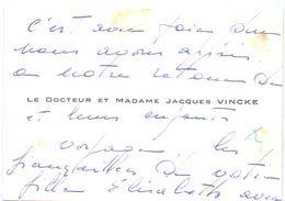 Visitekaartje - Carte De Visite - Dokter , Docteur & Madame Jacques Vincke ( Gand Gent ) - Visiting Cards