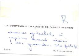 Visitekaartje - Carte De Visite - Dokter , Docteur & Madame Et. Vercauteren - Gand Gent - Visiting Cards