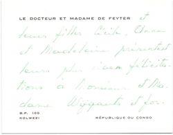 Visitekaartje - Carte De Visite - Dokter , Docteur & Madame De Feyter - Kolwezi , République Du Congo - Visiting Cards