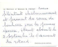 Visitekaartje - Carte De Visite - Dokter , Docteur & Madame G. Fiévet - Frasnes Lez Buissenal - Visiting Cards