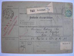 ALSACE - Bulletin D'expédition De Lutterbach-Lyon Par Mulhouse Le 27/04/27 - Belle Cote ( Voir Y&T 1991 Page 276 ) - Elzas-Lotharingen