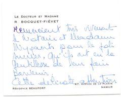 Visitekaartje - Carte De Visite - Dokter , Docteur & Madame R. Bocquet - Fiévet - Namur - Visiting Cards