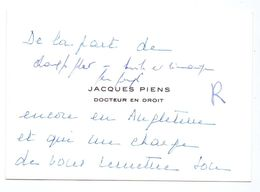 Visitekaartje - Carte De Visite - Docteur En Droit - Jacques Piens ( Gand Gent ) - Visiting Cards