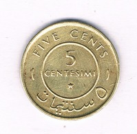 5 CENTS 1967 SOMALIE /5444/ - Somalia
