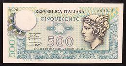 500 LIRE MERCURIO 02 04 1979 Q.fds Serie Sostitutiva Rara W26 LOTTO 2199 - [ 2] 1946-… : República