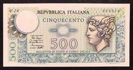 500 LIRE MERCURIO 02 04 1979 Q.fds Serie Sostitutiva Rara W26 LOTTO 2200 - [ 2] 1946-… : República