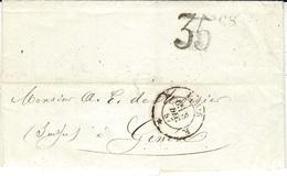 1857- Lettre En Port Du De Paris Bureau K  +  Taxe Tampon Suisse  35 Cs Noir Pour Genève - 1854-1862 Helvetia (Non-dentelés)