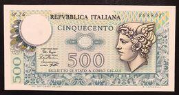 500 LIRE MERCURIO 02 04 1979 Q.fds Serie Sostitutiva Rara W26 LOTTO 2205 - [ 2] 1946-… : República