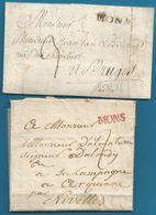 (T-066) Belgique - Précurseur - 2 LAC De MONS (MONS En Noir Et En Rouge) - 1794-1814 (Französische Besatzung)