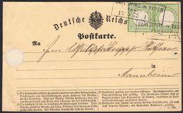 BRUSTSCHILD Nr. 7 Waagerechtes Paar Auf Karte Mit Ra3 CARLSRUHE BAHNHOF Nach Mannheim Befund Sommer BPP (hk20) - Briefe U. Dokumente