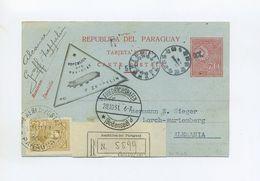 1931 PARAGUAY R- KARTE ZEPPELIN LZ 127 3. SÜDAMERIKAFAHRT RÜCKFAHRT MIT ZWEI ZEPPELINMARKEN SIEGER 136 - Paraguay