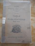 MONS TABLE DES PUBLICATIONS 1839-1924 HAINAUT HISTOIRE RÉGIONALISME FOLKLORE SCIENCES ART LITTÉRATURE GENEALOGIE CULTURE - Cultura