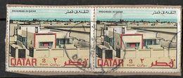 Qatar 1969 Qatar Progress In Qatar 2 Riyal Strip Of 2 Used - Qatar
