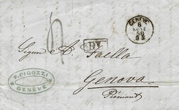 1858- Lettre En Port Du De GENEVE  Pour Genova - R L Encadré Abusif + Taxe 4 Tampon SARDE - 1854-1862 Helvetia (Non-dentelés)