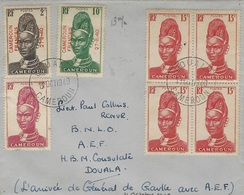 11- Oct. 1940- Enveloppe De Douala Affr. Petites Valeurs -JOUR D'arrivée Du Général De Gaulle Au Cameroun - Briefe U. Dokumente