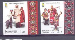 2012. Tajikistan, RCC, National Costumes, 2v  IMPERFORATED, Mint/** - Tadjikistan