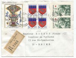 BLASON 20C SAINT LO BLOC DE 4+25C PAIRE +1FR TABLEAU LETTRE REC CHALONS 2.2.1967  POUR REIMS AU TARIF - 1941-66 Armoiries Et Blasons