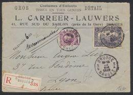"""Affranch. Mixte (n°145 Et 198) Sur Lettre à En-tête """"Costumes D'enfants"""" En Recommandé De Brugge / Bruges > Lyon - 1922-1927 Houyoux"""
