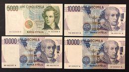 10000 Lire Alessandro Volta Serie Sostitutiva XF 1994 + A 1984 + B 1985 + 5000 Bellini A 1985  LOTTO 2233 - 10000 Liras