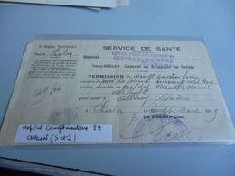 GUERRE 14/18  TITRE DE PERMISSION DE 24 HEURES CENTRE D REFORME DE CHALON SUR MARNE 1919 - 1914-18