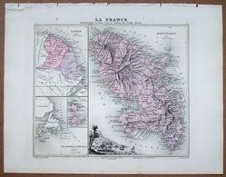 GRAVURE CARTE DE LA MARTINIQUE . ATLAS MIGEON 1886 . - Geographical Maps
