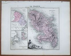 GRAVURE CARTE DE LA MARTINIQUE . ATLAS MIGEON 1886 . - Mapas Geográficas
