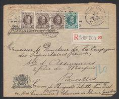 Houyoux - N°196 X3 + 194 Sur Lettre En Recommandé De Thiméon (1923) > Bruxelles - 1922-1927 Houyoux