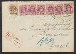 """Houyoux - N°195 X6 + 203 Sur Lettre En Recommandé De """"Hei - Kruis / Haute-croix"""" (1926) > Brussel - 1922-1927 Houyoux"""