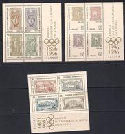 Grèce Griekenland Greece 1996 Yvertn° Bloc 13-15 *** MNH  Centenaire Des Jeux Olympiques Modernes - Blocks & Kleinbögen