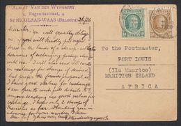 Houyoux - N°194 Et 203 Sur CP Vue Expédié De St-Nicolaas (1926) > Port Louis (Ile Maurice, Maritius Island, Africa) - 1922-1927 Houyoux