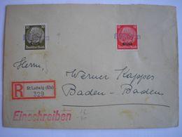 ALSACE - Enveloppe Recommandée De St Ludwig Avec 2 Timbres D'Alsace - Cachet D'arrivée Baden-Badeb Le 01/11/40 Au Verso - Marcophilie (Lettres)