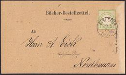 BRUSTSCHILD Nr.17a Als EF Auf Bücher-Bestell-Zettel Preussen-K1 EISLEBEN Nach Nordhausen (hk20) - Brieven En Documenten