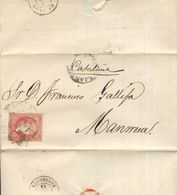 Año 1856 Edifil 48 4c Sello Isabel II Carta Matasellos Rueda De Carreta 27 Guadalajara A Manresa - Storia Postale
