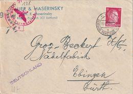 ALLEMAGNE 1942 DIENSTPOST OSTLAND LETTRE CENSUREE DE RIGA POUR EBINGEN - Ocupación 1938 – 45