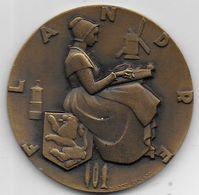 Médaille En Bronze Du Paquebot FLANDRE  - Compagnie Générale Transatlantique - Professionnels / De Société
